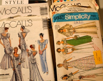 Vintage wedding dress sewing patterns 1970's, 1980's, 1990's wedding dress and accessories cut and UNCUT