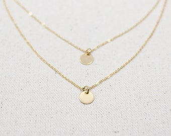 Double Gold Coin Necklace / Gold Disc Necklace / Gold Layering Necklace / Dainty Bridesmaid Necklace