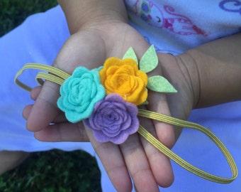 Flower headbands, Rosettes headbands, Headband for girls, Floral headbands, Baptism headbands, Rose headbands, Garland headbands