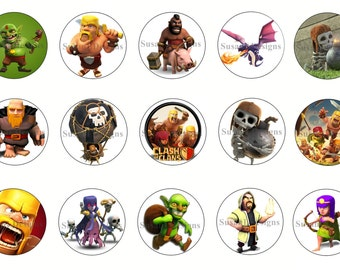 """Clash Of Clans- 15 Bottle Cap Images 4X6 Digital INSTANT DOWNLOAD 1"""" Circle Jewelry Hairbows"""
