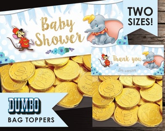 Dumbo topper, Bag toppers, Dumbo and Timothy Topper, Treat bag, Chocolate bag topper,favor topper,DIY,Sweet bag topper,chocolate,Baby Shower