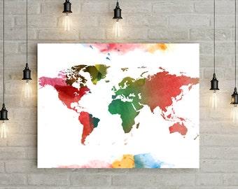 Watercolor Paint World Map Poster Digital Art Print 24x36