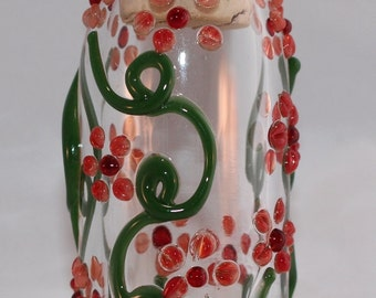 Red Flowers Jar