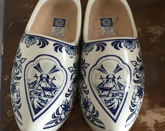 Blue and White Wooden Clogs