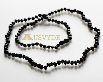 Long Baltic amber necklace for Adults, Black color Amber, each knotted. Polished. 71 cm or 27,9 inch. Black Amber necklace, 5762