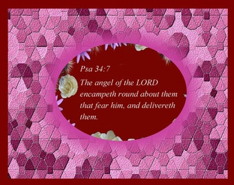 Christian Artwork  with Psalm 34-7