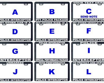 Police interceptor car cruiser assorted license plate frame