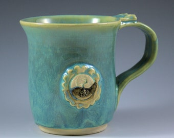 Yin Yang Tree of Life Mug - 10 oz. - Turquoise - Stoneware - Ceramic - ready to ship