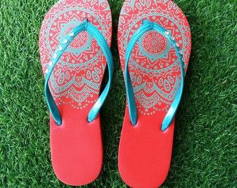 Flip flops mandala wedding flip flops women shoes henna shoes sandals women sandals gift women gift for her gift for mom