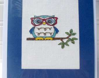 Cross stitch card, cross stitch picture, blank card, birthday card, thank you card, special occasion card, owls