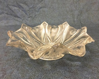 Vintage Pressed Glass Pinwheel Fruit Bowl with Scalloped Edge