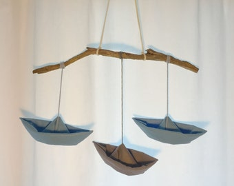 Mobile ships from felt that look like paper boats - nursery decoration