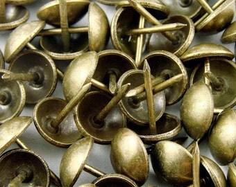 "100 Decorative Upholstery Tacks - Antique Brass 7/16"" | Decorative Nails, Fabric Tacks, Gold Tack | Vintage Look | Leather Tacks, Decotacks"