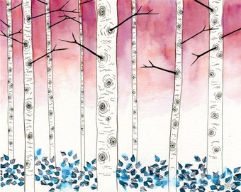 inky aspen 11x14 watercolor painting