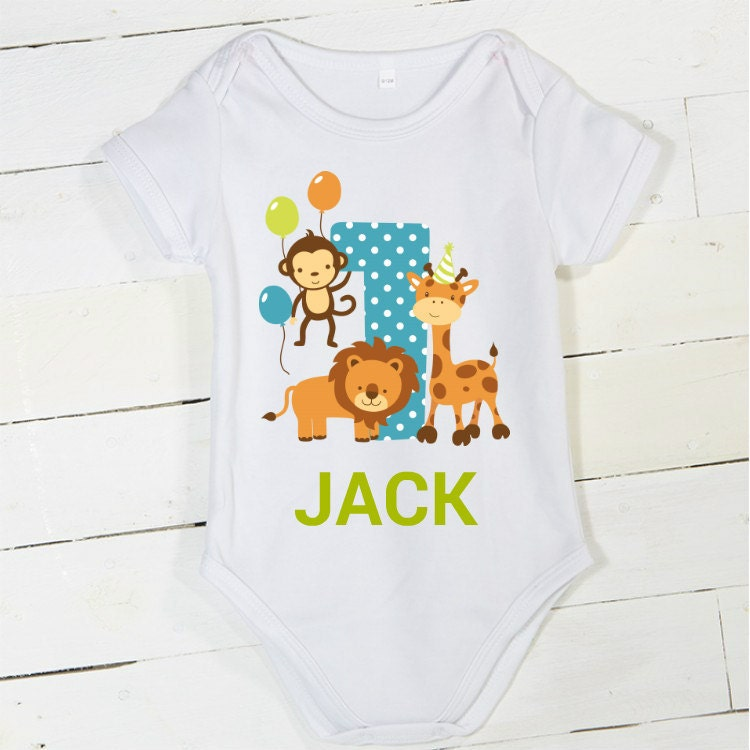 Boys 1st Birthday Outfit Jungle Onesie 1st Birthday Animals