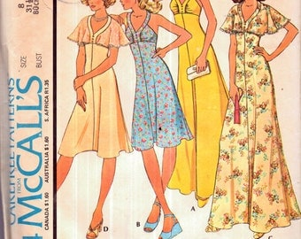 Genuine Vintage 1970s McCalls 4534 Ladies Ruched Bust Halterneck Maxi-Dresses with Capelets Sewing Pattern