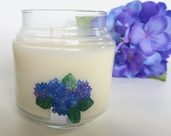 Hydrangea Candle/floral scent/ 16oz/ 3 wick/ natural soy wax/ refillable/ zero waste/ handpainted/ candle