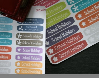 F040 School Holiday stickers for Filofax and diaries, bright and colourful