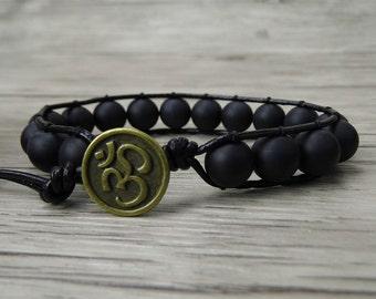 mens wrap bracelet black beads bracelet boho leather bracelet yoga beaded bracelet leather wrap bracelet 10mm agate bead bracelet SL-0196