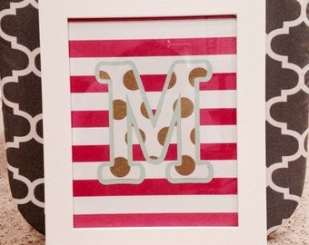 Framed art, personalized initial