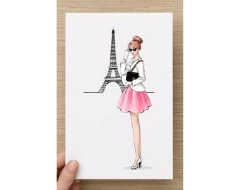 Greetins Cards Fashion illustration 'Paris and Chanel'/ birthday card / fashion art / Paris / Chanel bag / Eiffteltower