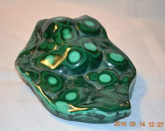 Large Malachite Chunk with polished top surface, perfect for carving or slicing into slabs for cabbing.