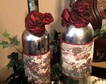 Re purposed Wine Bottle, Home Decor, flower vase,