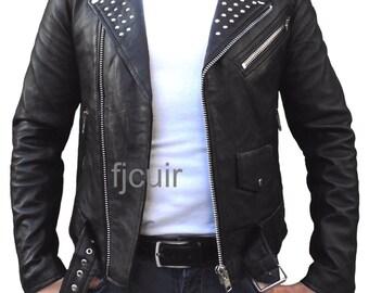 studs leather jacket for men