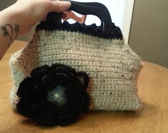 Small Tan/Black Crochet Handbag with flower applique