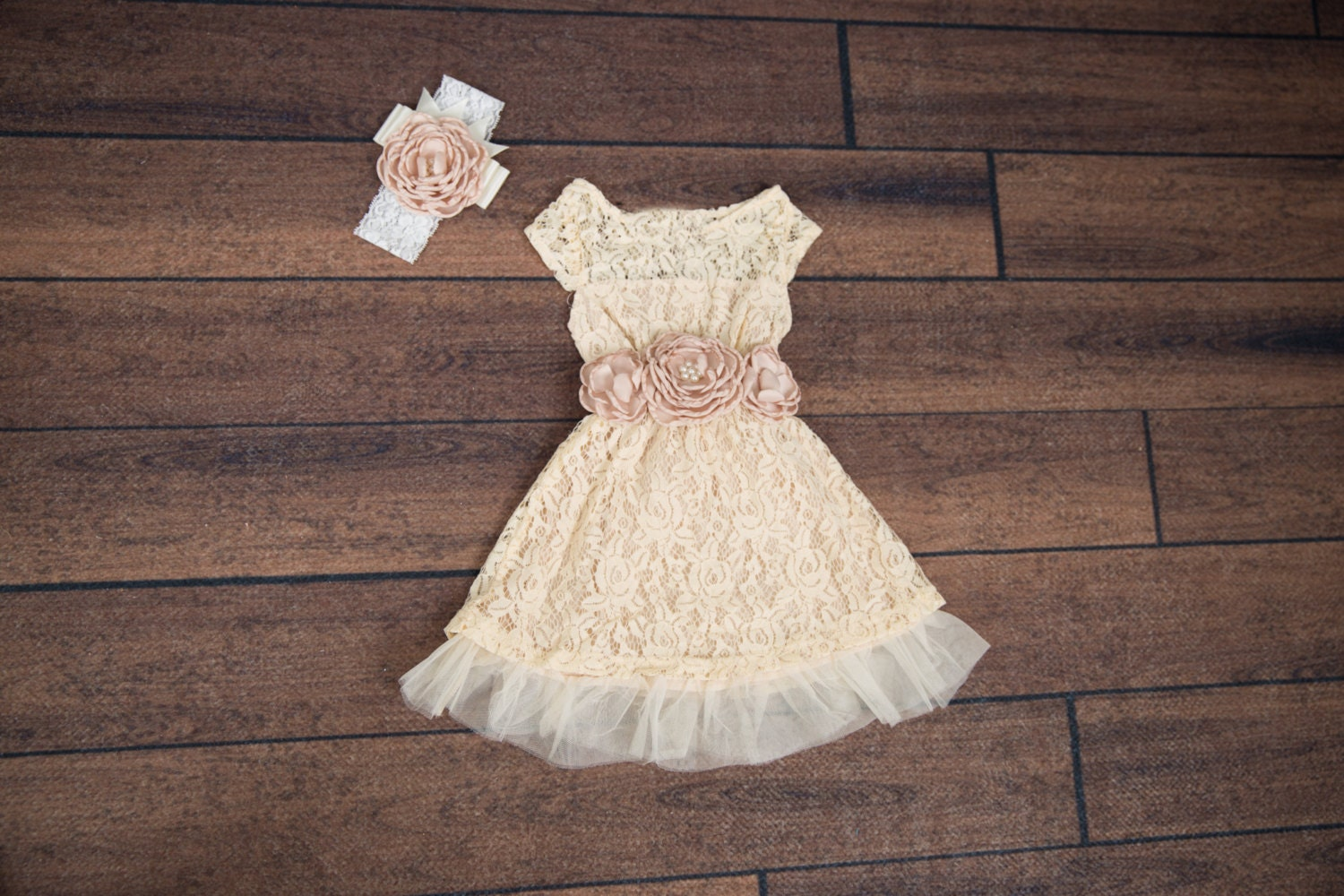 Cream Ivory Flower Girl Dress Lace dress Champagne Cream