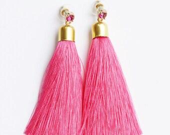 Pink gold thread tassel earrings