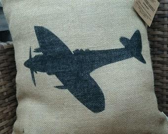 Hessian spitfire aeroplane cushion cover jute burlap