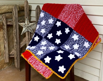 PDF Download Crochet Pattern, Patchwork Spangled Banner Afghan, Digital File, American Flag Blanket, American Flag Afghan