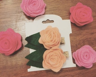 Felt rose flower clips
