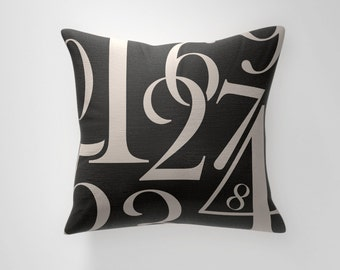 Numbers Typography Throw Pillow Cover, Office Decor, Home Decor, Accent Pillow Cover, Decorative Pillow Cover