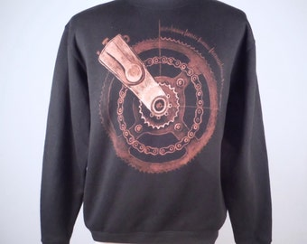 Gear design Bleach Art Hand Drawn Sweatshirt Black Jumper Hand Painted