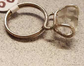 Silver Wire Wrapped Ring with Tibetan Quartz