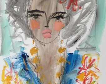 Sale Talitha original mixed media painting portrait whimsical abstract expressive illustration