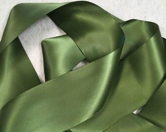 Green Satin Ribbon/Moss Green Ribbon/Camo Green Satin Ribbon/Camo Bridal Belt/Green Wedding Sash/Flower Girl Sash/Olive Green Satin Ribbon