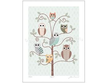 "9"" x 12"" Retro Owls in Pastel Palette, Giclée Fine Art Print"