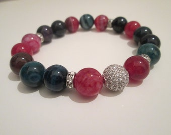 Multicolored agate bracelet