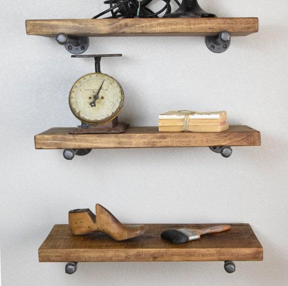 set of 3 12 deep industrial floating shelves combo. Black Bedroom Furniture Sets. Home Design Ideas