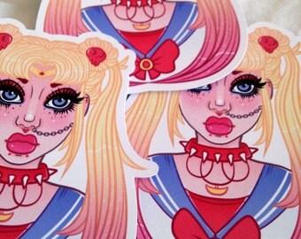 Punk Sailor Moon Large Glossy Sticker