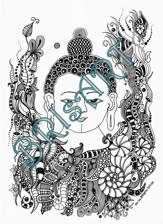 ausmalbild zentangle zenzia buddha handmade by