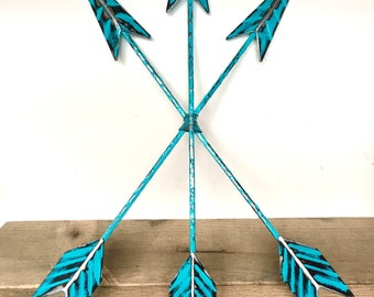 Turquoise Blue Arrow Wall Art - Arrow Decor - Turquoise Blue Wall Art - Decorative Arrows - Bohemian Wall Decor - Wall Arrow - Tribal Arrows