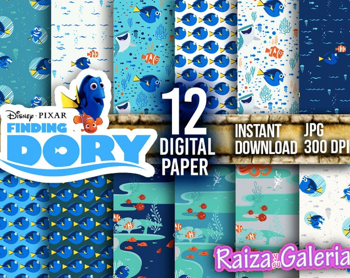 AWESOME Finding DORY Digital Paper. Instant Download - Scrapbooking - Dory Printable Paper