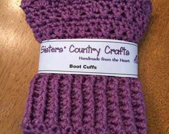 Crochet Boot Toppers, Women's Boot Cuffs - Size Large - Purple