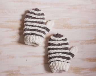 Hand knit wool mittens | Cozy mittens | Mittens with stripes | Winter mittens | Alpaca mittens | Christmas gift | Soft mittens