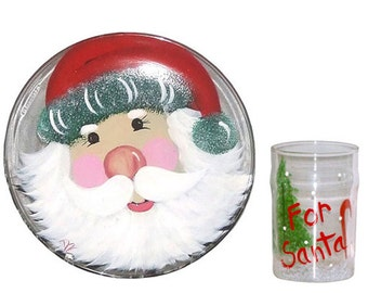 Santa Cookie Plate with Matching Glass for Santa Claus. Hand Painted. FREE SHIPPING