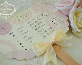 Wedding Fan / Wedding Programme / Wedding Program / Vintage Doily / Tea Party Wedding